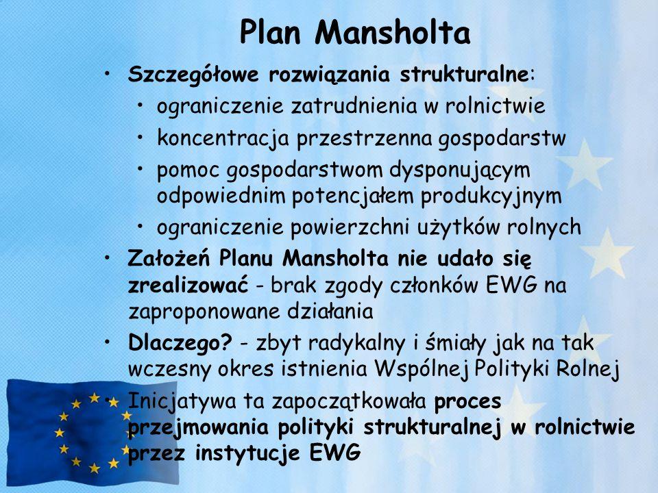 Plan Mansholta Szczegółowe rozwiązania strukturalne: ograniczenie zatrudnienia w rolnictwie koncentracja przestrzenna gospodarstw pomoc gospodarstwom