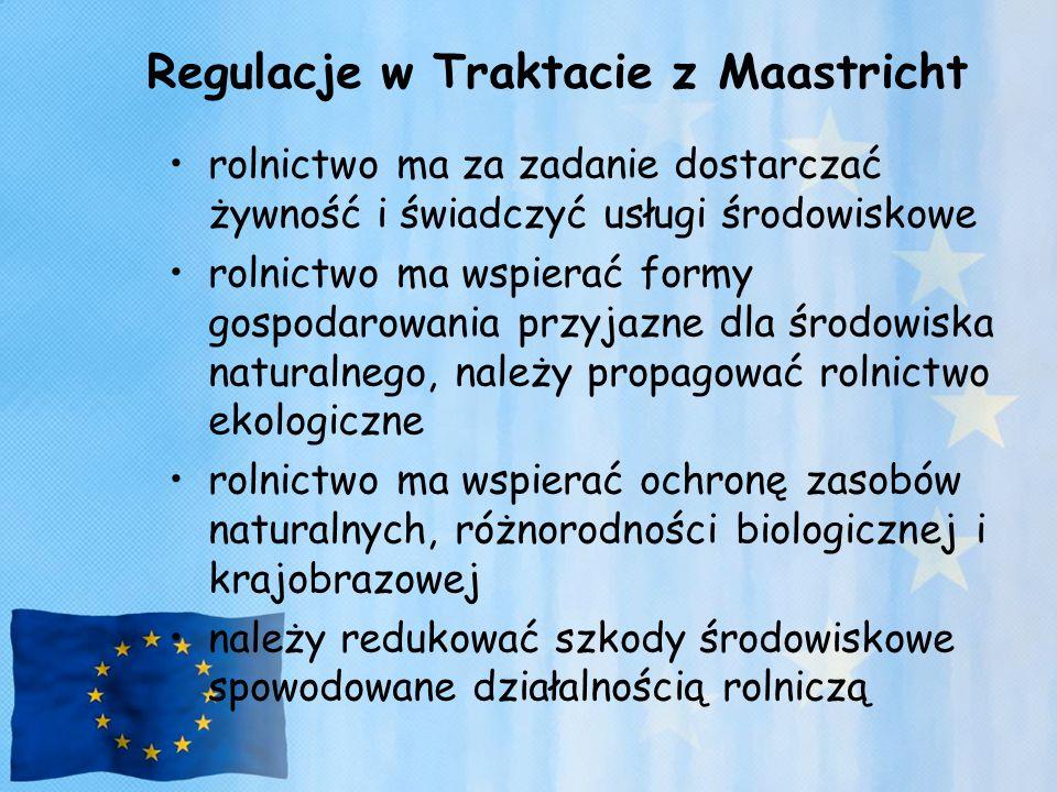 Regulacje w Traktacie z Maastricht rolnictwo ma za zadanie dostarczać żywność i świadczyć usługi środowiskowe rolnictwo ma wspierać formy gospodarowan