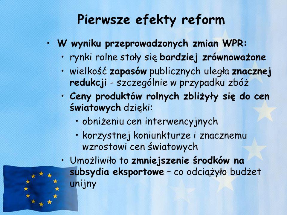 Pierwsze efekty reform W wyniku przeprowadzonych zmian WPR: rynki rolne stały się bardziej zrównoważone wielkość zapasów publicznych uległa znacznej r