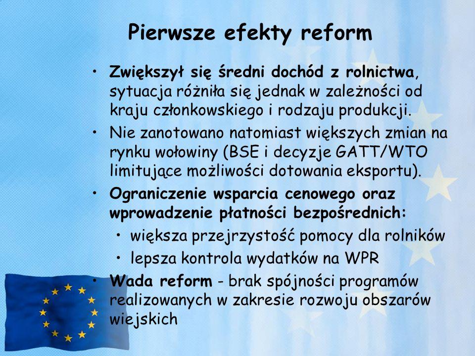 Pierwsze efekty reform Zwiększył się średni dochód z rolnictwa, sytuacja różniła się jednak w zależności od kraju członkowskiego i rodzaju produkcji.
