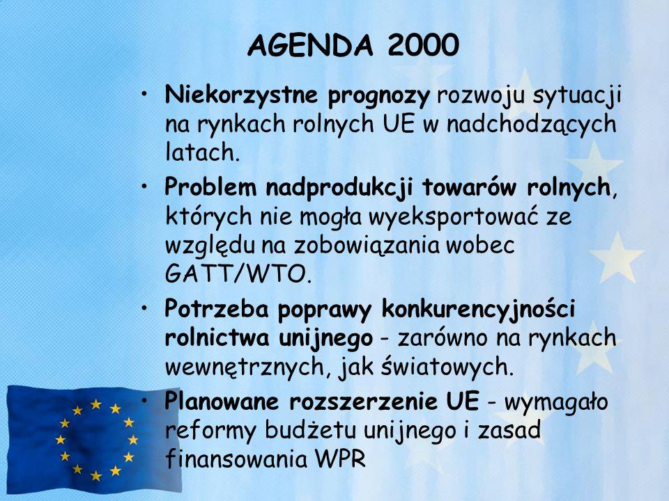 AGENDA 2000 Niekorzystne prognozy rozwoju sytuacji na rynkach rolnych UE w nadchodzących latach. Problem nadprodukcji towarów rolnych, których nie mog