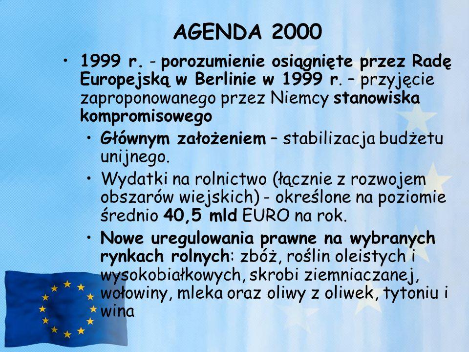 AGENDA 2000 1999 r. - porozumienie osiągnięte przez Radę Europejską w Berlinie w 1999 r. – przyjęcie zaproponowanego przez Niemcy stanowiska kompromis