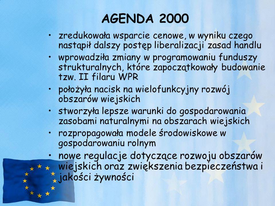 AGENDA 2000 zredukowała wsparcie cenowe, w wyniku czego nastąpił dalszy postęp liberalizacji zasad handlu wprowadziła zmiany w programowaniu funduszy