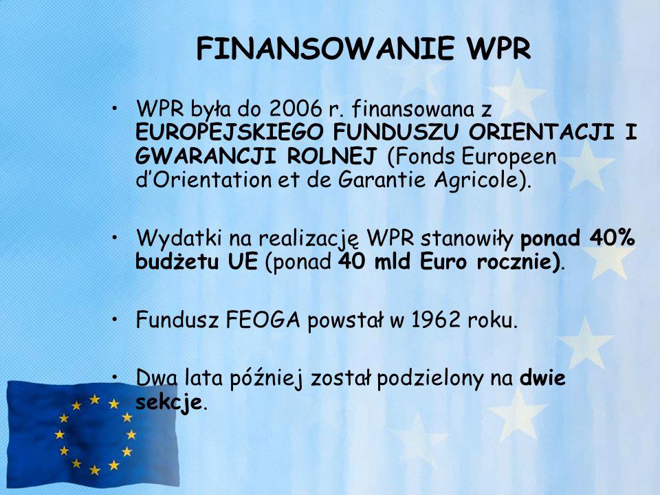 FINANSOWANIE WPR WPR była do 2006 r. finansowana z EUROPEJSKIEGO FUNDUSZU ORIENTACJI I GWARANCJI ROLNEJ (Fonds Europeen d'Orientation et de Garantie A