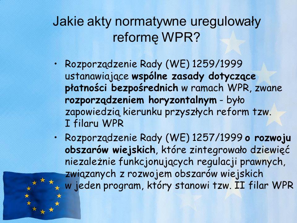 Jakie akty normatywne uregulowały reformę WPR? Rozporządzenie Rady (WE) 1259/1999 ustanawiające wspólne zasady dotyczące płatności bezpośrednich w ram