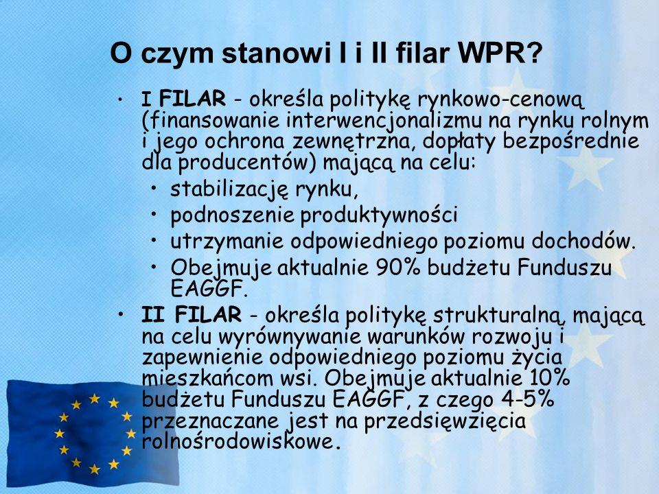 O czym stanowi I i II filar WPR? I FILAR - określa politykę rynkowo-cenową (finansowanie interwencjonalizmu na rynku rolnym i jego ochrona zewnętrzna,