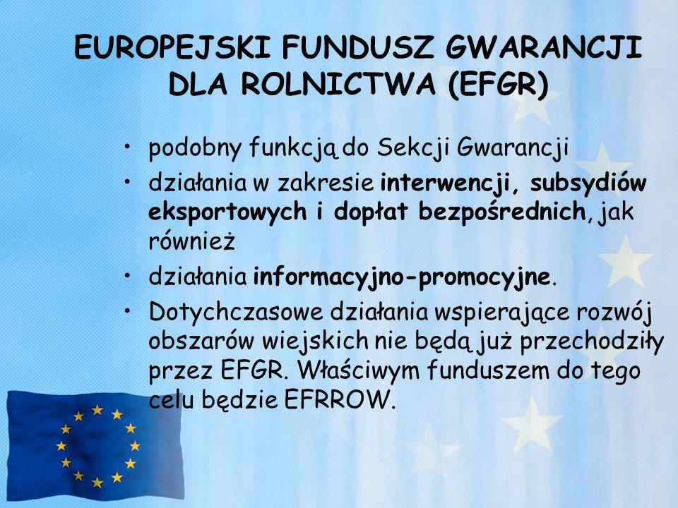 EUROPEJSKI FUNDUSZ GWARANCJI DLA ROLNICTWA (EFGR) podobny funkcją do Sekcji Gwarancji działania w zakresie interwencji, subsydiów eksportowych i dopła