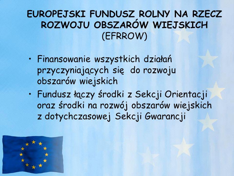 EUROPEJSKI FUNDUSZ ROLNY NA RZECZ ROZWOJU OBSZARÓW WIEJSKICH (EFRROW) Finansowanie wszystkich działań przyczyniających się do rozwoju obszarów wiejski