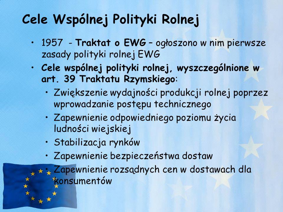 Cele Wspólnej Polityki Rolnej 1957 - Traktat o EWG – ogłoszono w nim pierwsze zasady polityki rolnej EWG Cele wspólnej polityki rolnej, wyszczególnion