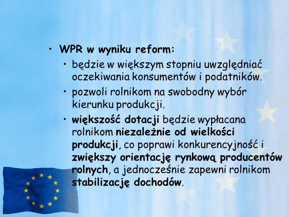 WPR w wyniku reform: będzie w większym stopniu uwzględniać oczekiwania konsumentów i podatników. pozwoli rolnikom na swobodny wybór kierunku produkcji