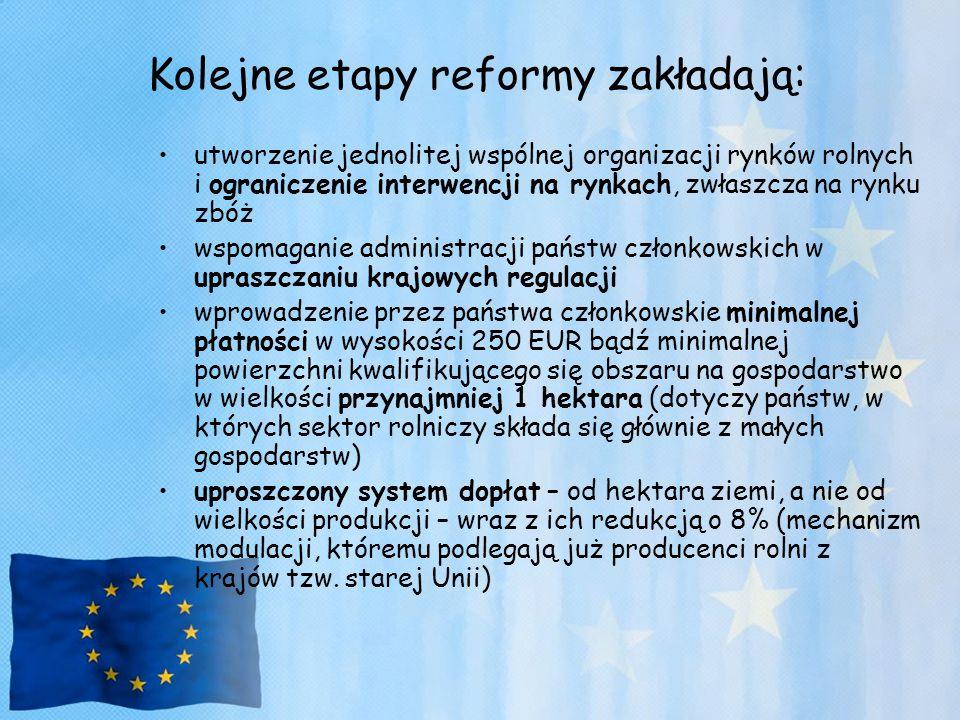 Kolejne etapy reformy zakładają: utworzenie jednolitej wspólnej organizacji rynków rolnych i ograniczenie interwencji na rynkach, zwłaszcza na rynku z