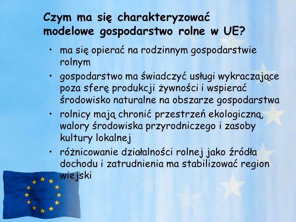 Czym ma się charakteryzować modelowe gospodarstwo rolne w UE? ma się opierać na rodzinnym gospodarstwie rolnym gospodarstwo ma świadczyć usługi wykrac