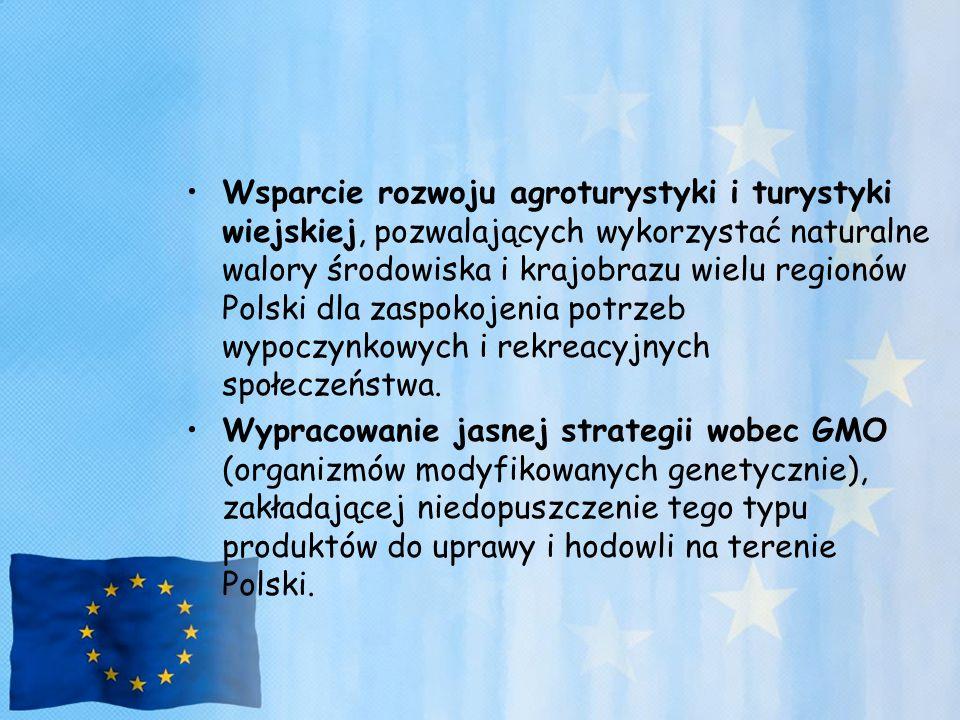 Wsparcie rozwoju agroturystyki i turystyki wiejskiej, pozwalających wykorzystać naturalne walory środowiska i krajobrazu wielu regionów Polski dla zas