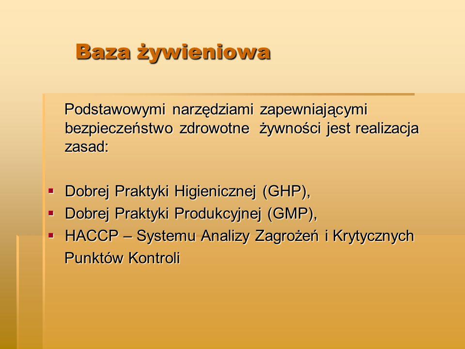 Baza żywieniowa Baza żywieniowa Podstawowymi narzędziami zapewniającymi bezpieczeństwo zdrowotne żywności jest realizacja zasad: Podstawowymi narzędziami zapewniającymi bezpieczeństwo zdrowotne żywności jest realizacja zasad:  Dobrej Praktyki Higienicznej (GHP),  Dobrej Praktyki Produkcyjnej (GMP),  HACCP – Systemu Analizy Zagrożeń i Krytycznych Punktów Kontroli Punktów Kontroli