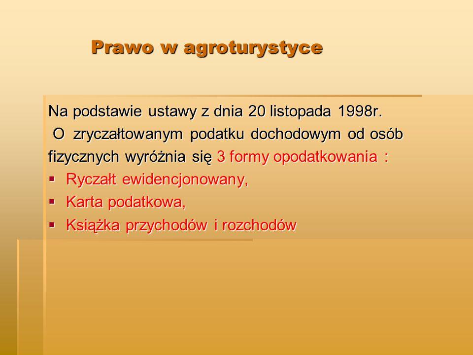 Prawo w agroturystyce Prawo w agroturystyce Na podstawie ustawy z dnia 20 listopada 1998r.