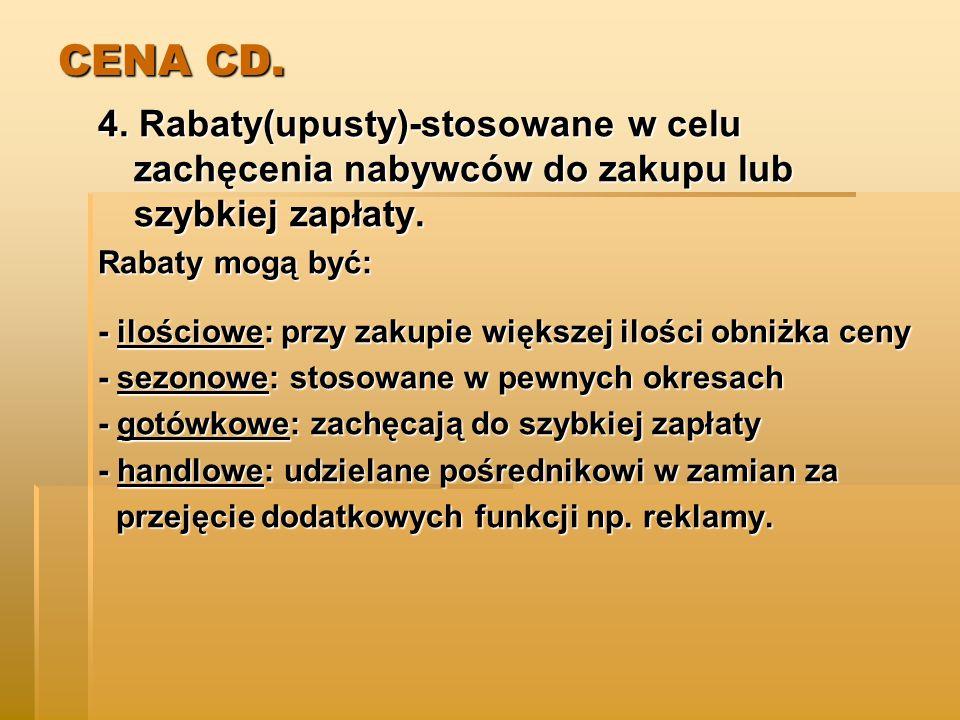 CENA CD.4. Rabaty(upusty)-stosowane w celu zachęcenia nabywców do zakupu lub szybkiej zapłaty.