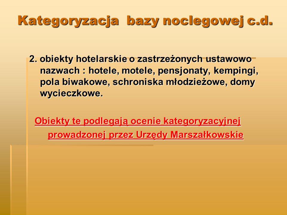 Kategoryzacja bazy noclegowej c.d.2.