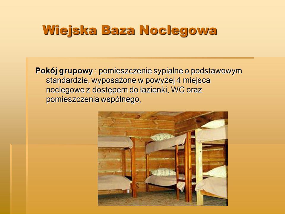Pokój grupowy : pomieszczenie sypialne o podstawowym standardzie, wyposażone w powyżej 4 miejsca noclegowe z dostępem do łazienki, WC oraz pomieszczenia wspólnego,