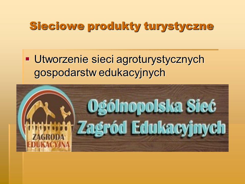 Sieciowe produkty turystyczne Sieciowe produkty turystyczne  Utworzenie sieci agroturystycznych gospodarstw edukacyjnych