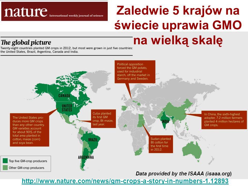 Data provided by the ISAAA (isaaa.org) http://www.nature.com/news/gm-crops-a-story-in-numbers-1.12893 Zaledwie 5 krajów na świecie uprawia GMO na wiel