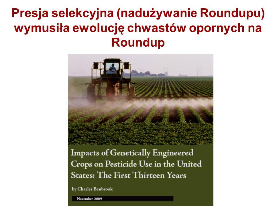 Presja selekcyjna (nadużywanie Roundupu) wymusiła ewolucję chwastów opornych na Roundup