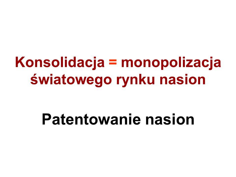 Konsolidacja = monopolizacja światowego rynku nasion Patentowanie nasion
