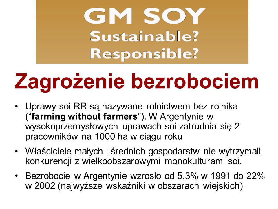 """Zagrożenie bezrobociem Uprawy soi RR są nazywane rolnictwem bez rolnika (""""farming without farmers""""). W Argentynie w wysokoprzemysłowych uprawach soi z"""
