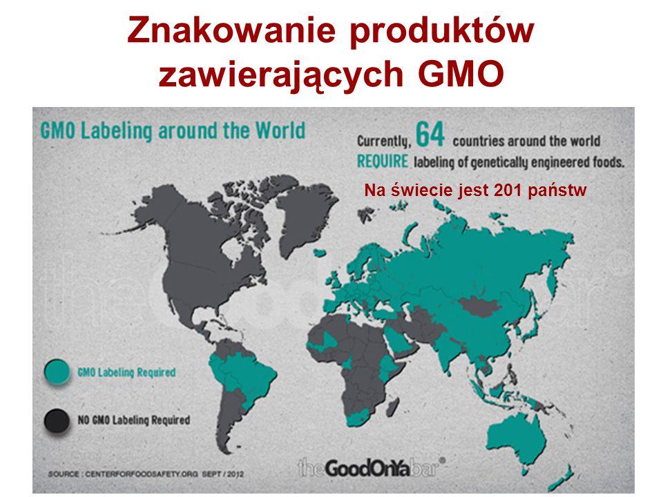 Znakowanie produktów zawierających GMO Na świecie jest 201 państw