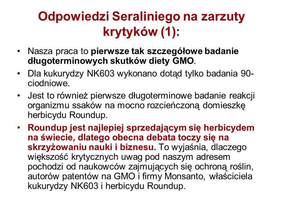 Odpowiedzi Seraliniego na zarzuty krytyków (1): Nasza praca to pierwsze tak szczegółowe badanie długoterminowych skutków diety GMO. Dla kukurydzy NK60