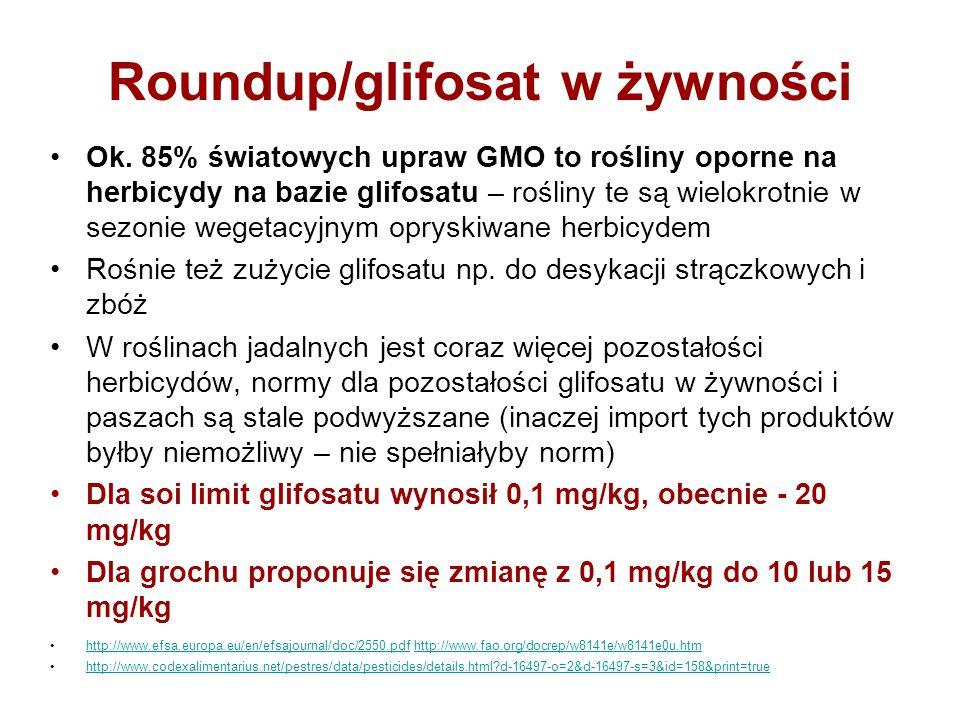 Roundup/glifosat w żywności Ok. 85% światowych upraw GMO to rośliny oporne na herbicydy na bazie glifosatu – rośliny te są wielokrotnie w sezonie wege