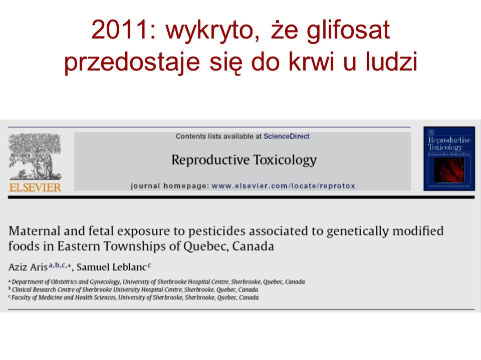 2011: wykryto, że glifosat przedostaje się do krwi u ludzi