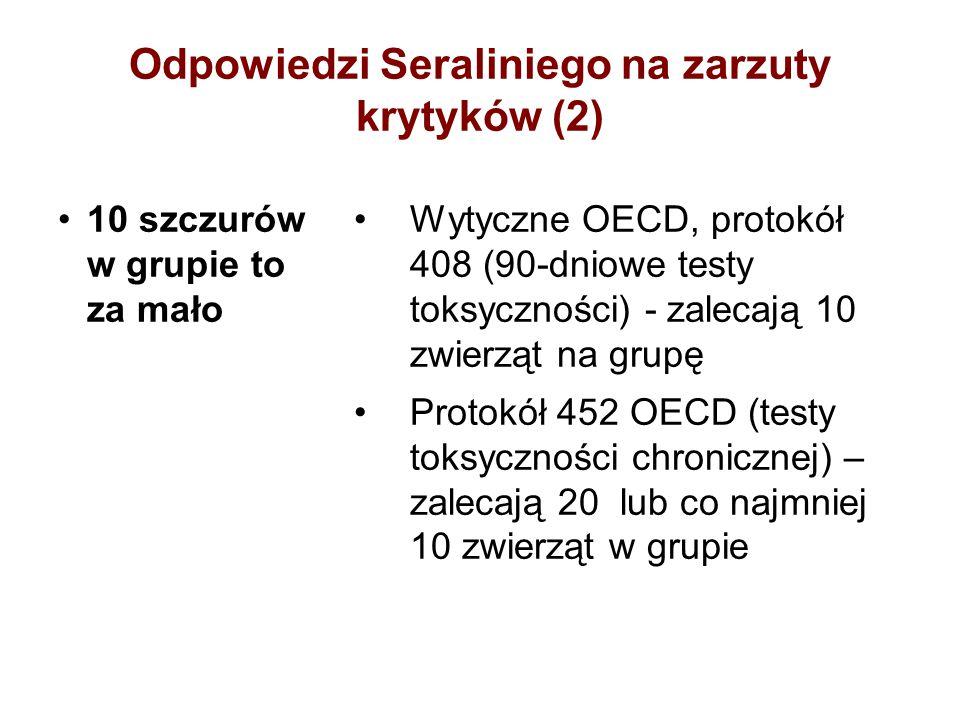Odpowiedzi Seraliniego na zarzuty krytyków (2) 10 szczurów w grupie to za mało Wytyczne OECD, protokół 408 (90-dniowe testy toksyczności) - zalecają 1