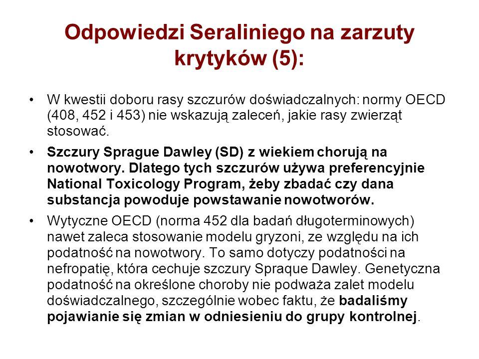 Odpowiedzi Seraliniego na zarzuty krytyków (5): W kwestii doboru rasy szczurów doświadczalnych: normy OECD (408, 452 i 453) nie wskazują zaleceń, jaki