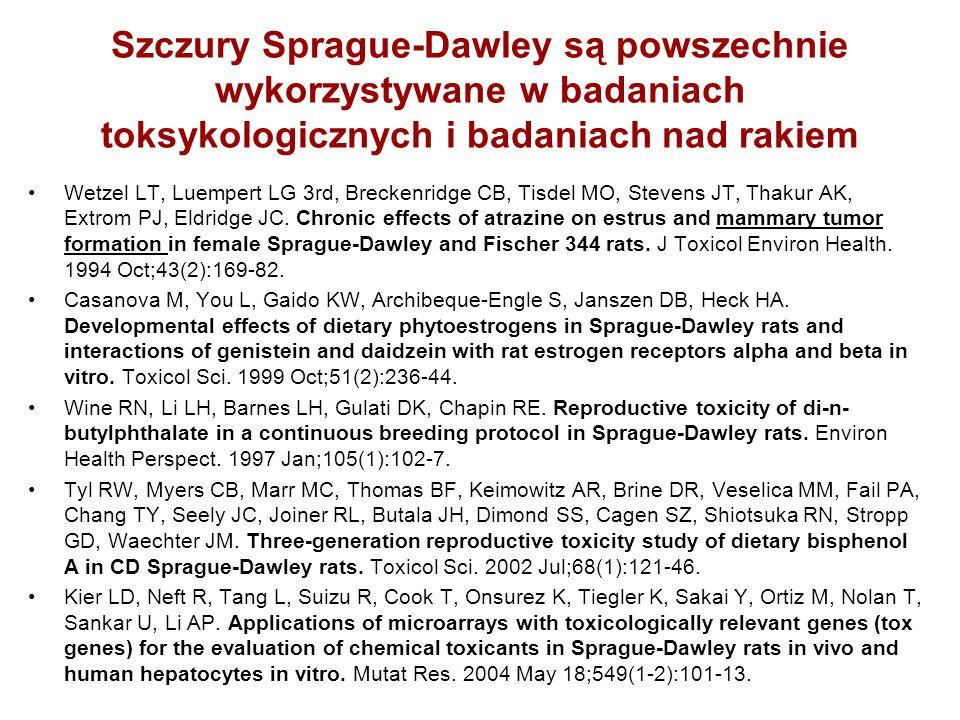 Szczury Sprague-Dawley są powszechnie wykorzystywane w badaniach toksykologicznych i badaniach nad rakiem Wetzel LT, Luempert LG 3rd, Breckenridge CB,
