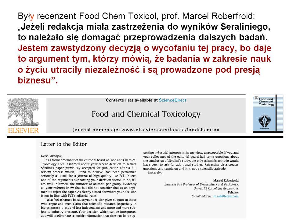 """Były recenzent Food Chem Toxicol, prof. Marcel Roberfroid: """"Jeżeli redakcja miała zastrzeżenia do wyników Seraliniego, to należało się domagać przepro"""