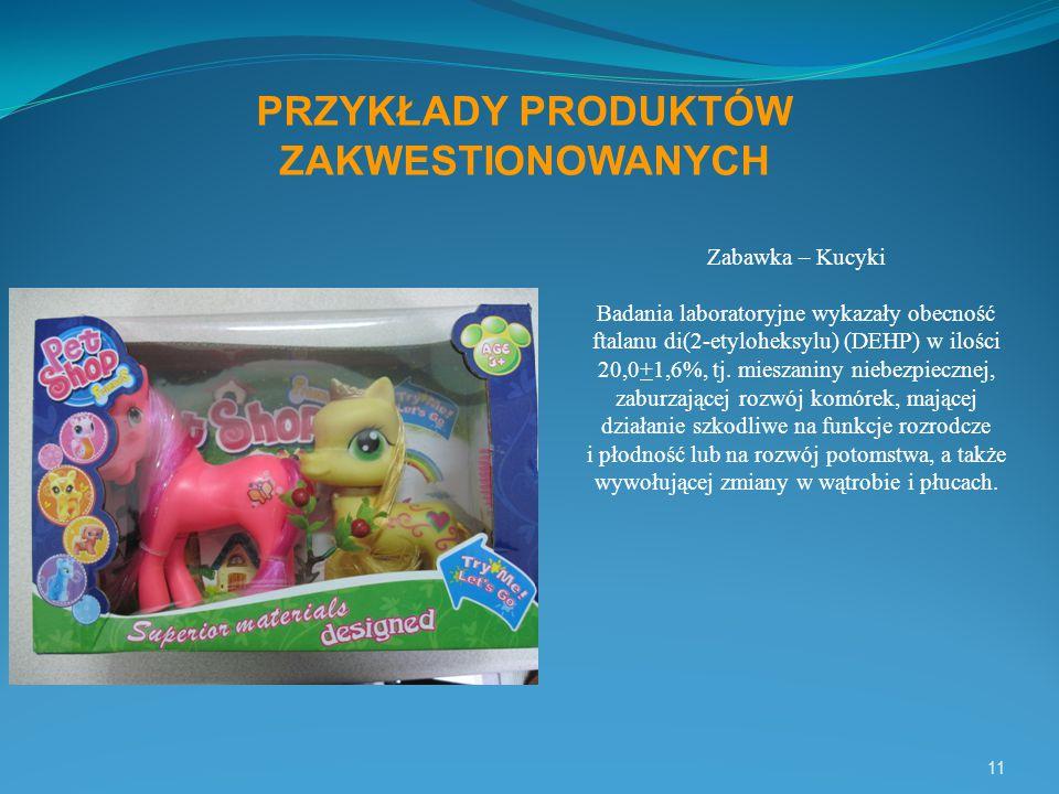 11 PRZYKŁADY PRODUKTÓW ZAKWESTIONOWANYCH Zabawka – Kucyki Badania laboratoryjne wykazały obecność ftalanu di(2-etyloheksylu) (DEHP) w ilości 20,0+1,6%, tj.