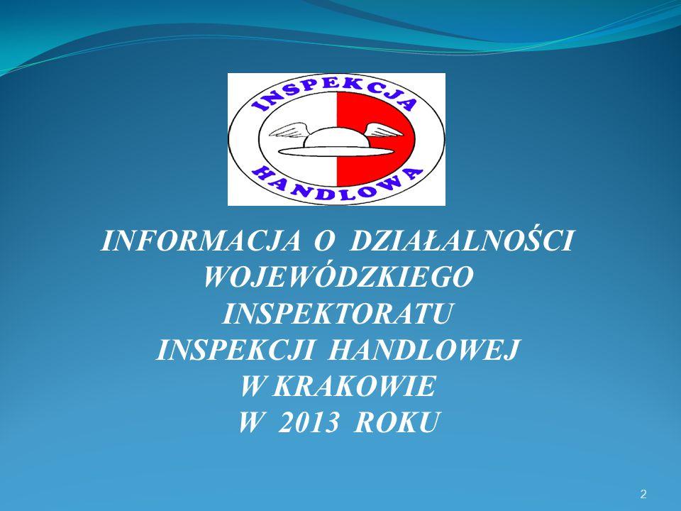 2 INFORMACJA O DZIAŁALNOŚCI WOJEWÓDZKIEGO INSPEKTORATU INSPEKCJI HANDLOWEJ W KRAKOWIE W 2013 ROKU