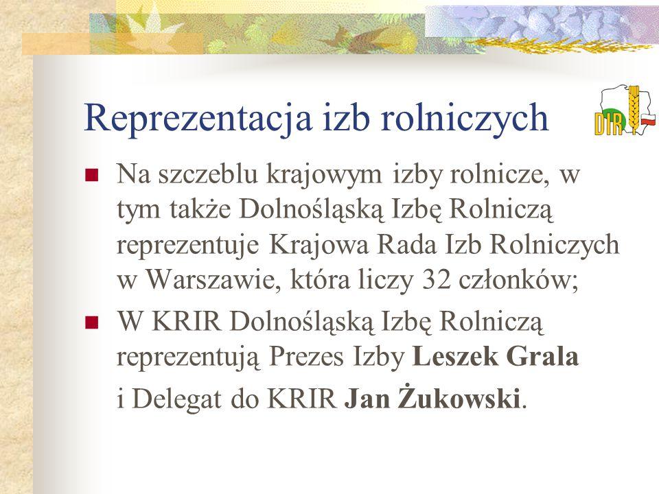 Reprezentacja izb rolniczych Na szczeblu krajowym izby rolnicze, w tym także Dolnośląską Izbę Rolniczą reprezentuje Krajowa Rada Izb Rolniczych w Warszawie, która liczy 32 członków; W KRIR Dolnośląską Izbę Rolniczą reprezentują Prezes Izby Leszek Grala i Delegat do KRIR Jan Żukowski.