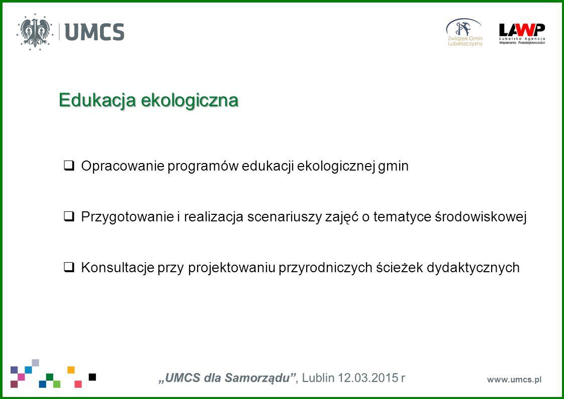 www.umcs.pl Ochrona zdrowia  Opracowanie biomolekuły będącej składnikiem potencjalnej szczepionki przeciwko malarii  Współtworzenie biotechnologicznego selektywnego leku przeciwnowotworowego z wykorzystaniem super toksycznego białka – rycyny