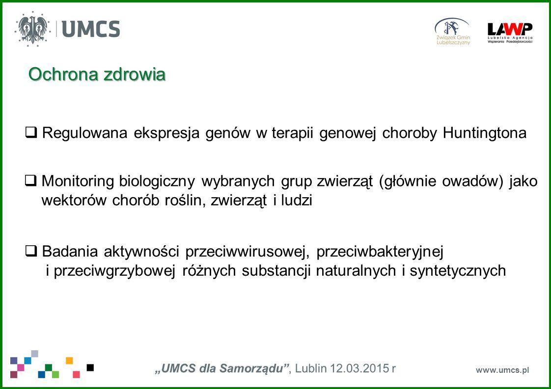 www.umcs.pl Przemysł rolno-spożywczy  Opracowanie technologii produkcji biopreparatów bionawożeniowych efektywnych w zwiększaniu wykorzystania przez rośliny zasobów azotu i fosforu  Opracowanie technologii produkcji biopreparatów efektywnych w ograniczaniu fuzarioz (grzybowych chorób) roślin (głównie roślin zbożowych);