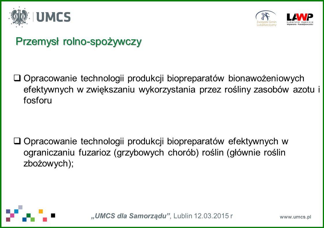www.umcs.pl  Mikrobiologiczna transformacja związków smakowo-zapachowych  Opracowanie szczepionki przeciwko cirkowirusowi świń (wspólnie z PIWet)  Mikrobiologiczna i biochemiczna analiza jakościowa i ilościowa wody, środków spożywczych i kosmetyków Przemysł rolno-spożywczy