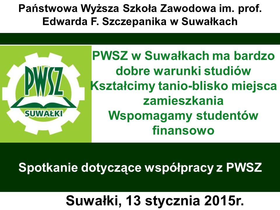 www.facebook.com/ PWSZwSuwalkach www.pwsz.suwalki.pl Przyszłość jest tutaj sekretariat@pwsz.suwalki.pl Państwowa Wyższa Szkoła Zawodowa w Suwałkach