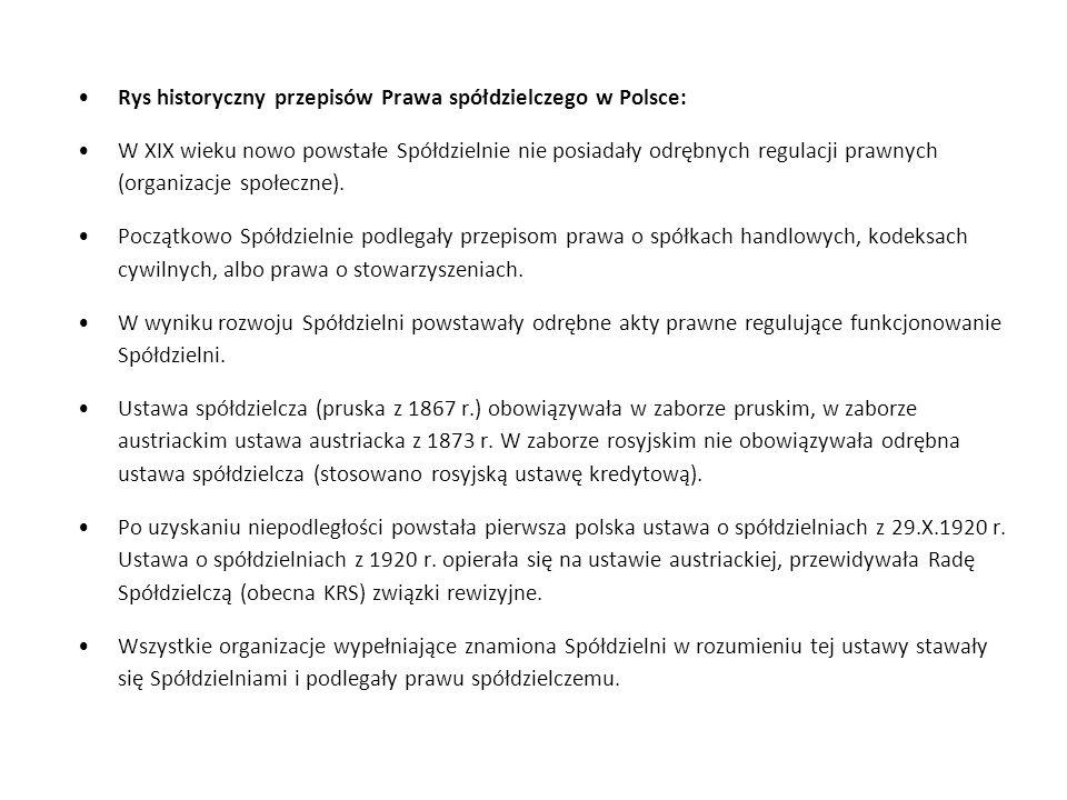 Rys historyczny przepisów Prawa spółdzielczego w Polsce: W XIX wieku nowo powstałe Spółdzielnie nie posiadały odrębnych regulacji prawnych (organizacj
