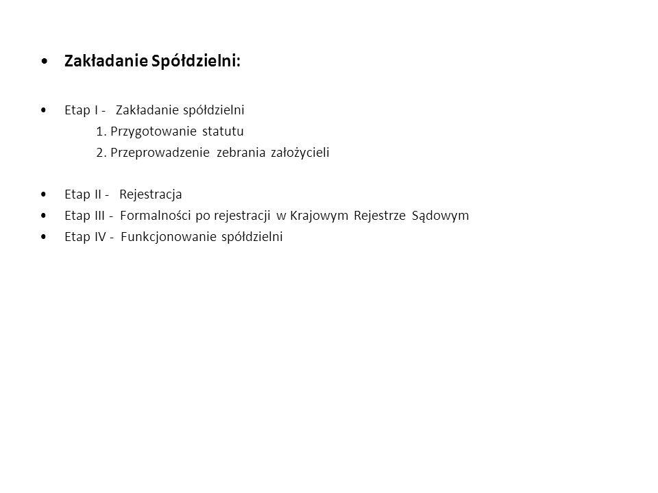 Zakładanie Spółdzielni: Etap I - Zakładanie spółdzielni 1. Przygotowanie statutu 2. Przeprowadzenie zebrania założycieli Etap II - Rejestracja Etap II