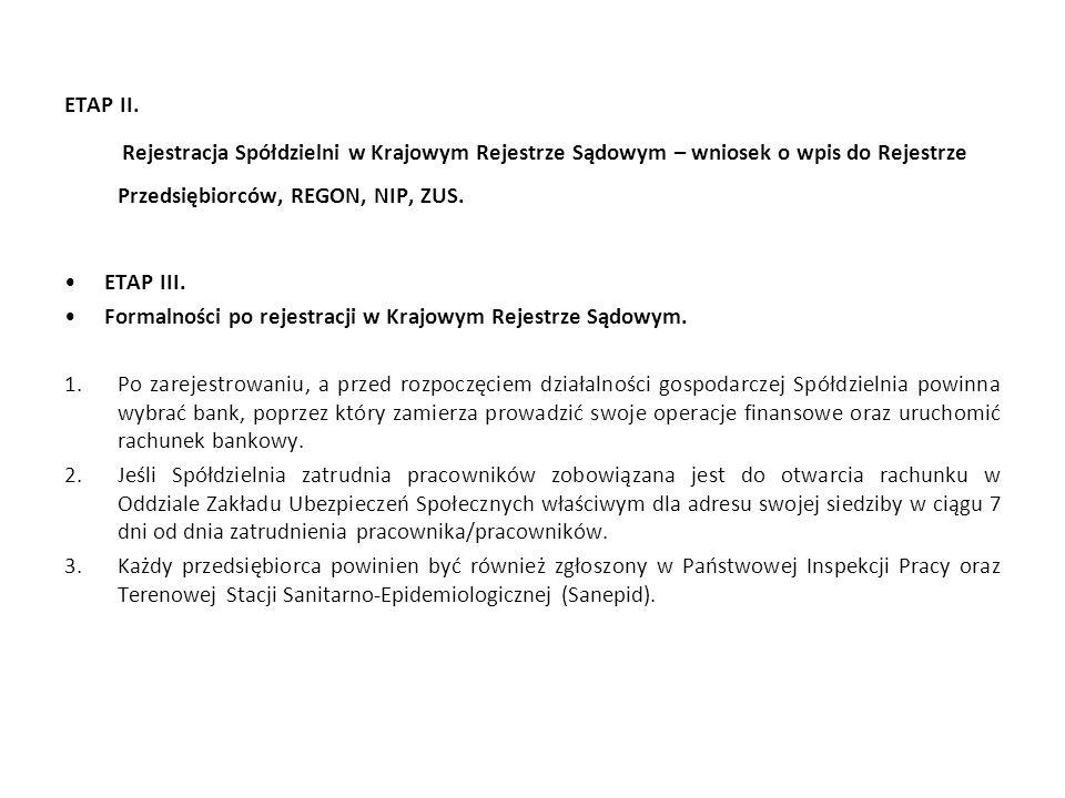 ETAP II. Rejestracja Spółdzielni w Krajowym Rejestrze Sądowym – wniosek o wpis do Rejestrze Przedsiębiorców, REGON, NIP, ZUS. ETAP III. Formalności po