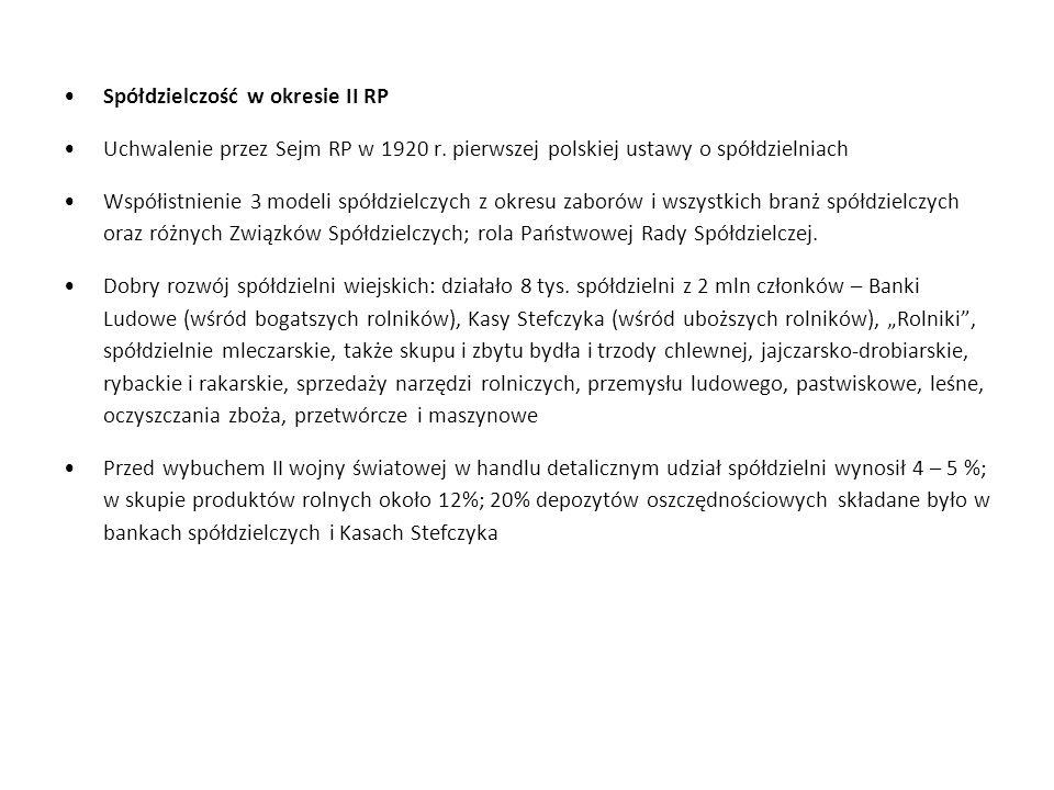 Spółdzielczość w okresie II RP Uchwalenie przez Sejm RP w 1920 r. pierwszej polskiej ustawy o spółdzielniach Współistnienie 3 modeli spółdzielczych z