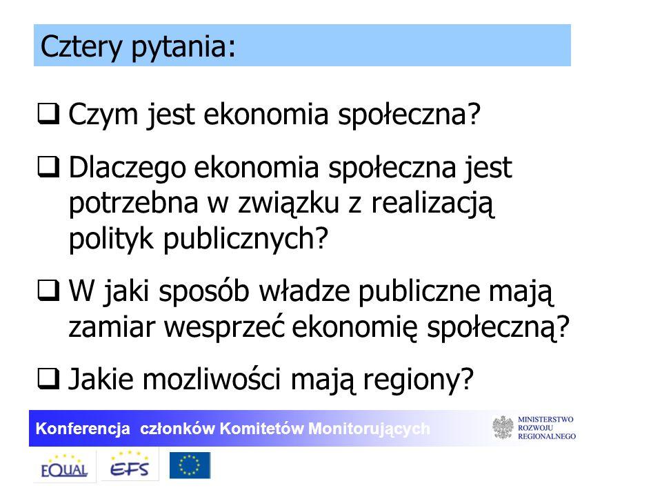 Konferencja członków Komitetów Monitorujących  Czym jest ekonomia społeczna?  Dlaczego ekonomia społeczna jest potrzebna w związku z realizacją poli
