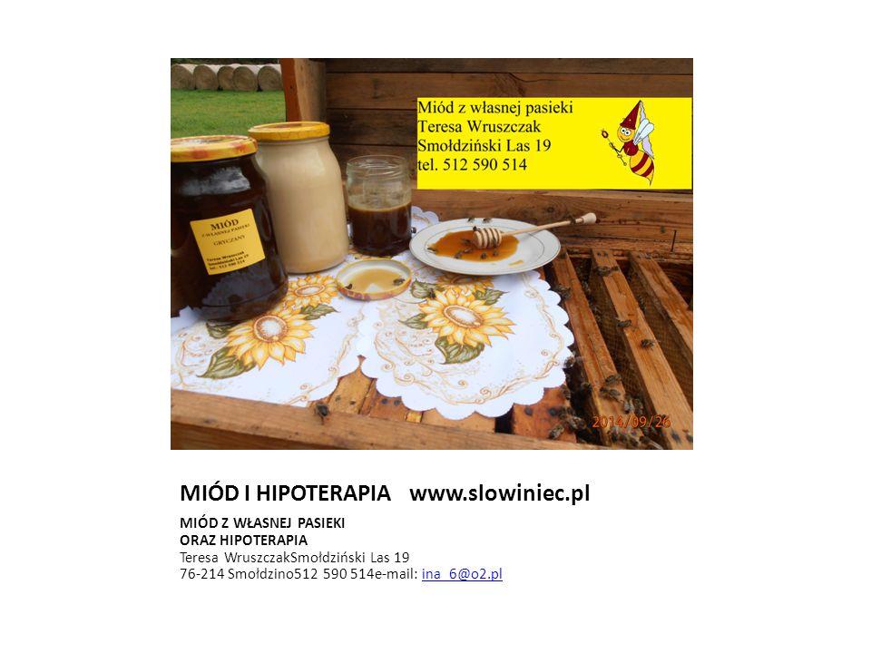MIÓD I HIPOTERAPIA www.slowiniec.pl MIÓD Z WŁASNEJ PASIEKI ORAZ HIPOTERAPIA Teresa WruszczakSmołdziński Las 19 76-214 Smołdzino512 590 514e-mail: ina_