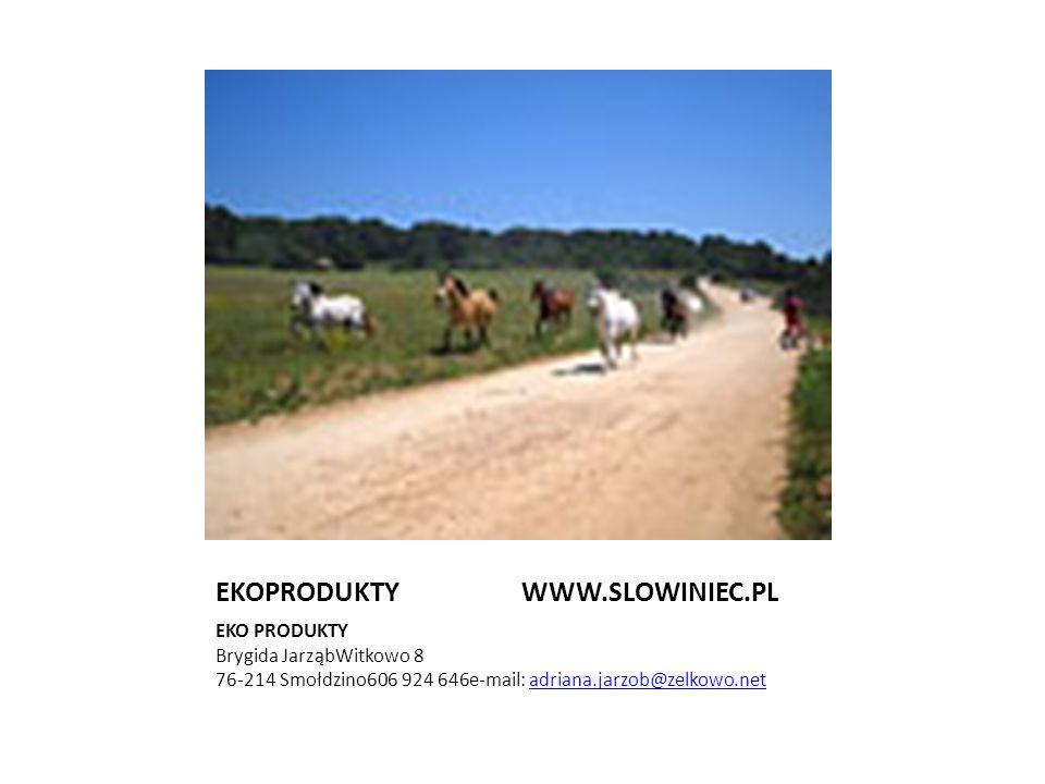 EKOPRODUKTY WWW.SLOWINIEC.PL EKO PRODUKTY Brygida JarząbWitkowo 8 76-214 Smołdzino606 924 646e-mail: adriana.jarzob@zelkowo.netadriana.jarzob@zelkowo.