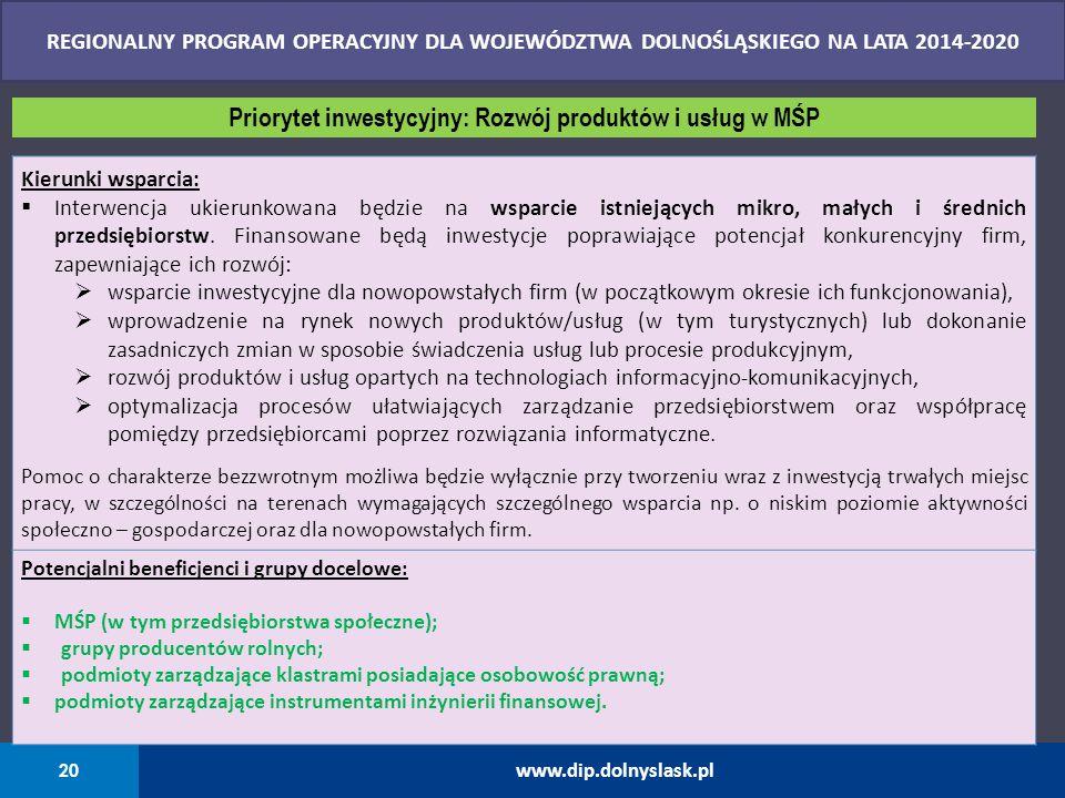 20 www.dip.dolnyslask.pl REGIONALNY PROGRAM OPERACYJNY DLA WOJEWÓDZTWA DOLNOŚLĄSKIEGO NA LATA 2014-2020 Kierunki wsparcia:  Interwencja ukierunkowana